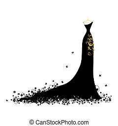 Abendkleid schwarz auf Bügel