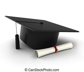 Abschlussmütze und Abschlusszeugnis