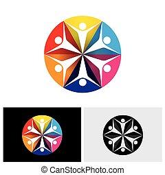 Abstract colorful Vektorlogo Icons von Kindern oder Kindern glücklich & aufgeregt