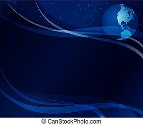 Abstract Dark Blue Hintergrund mit Globus - eps 10.