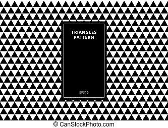 Abstract Hintergrund elegante geometrische, nahtlose Muster in schwarzen und weißen Dreiecken mit rechteckigen vertikalen Rahmen Kopie Raum.