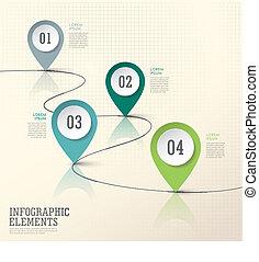 Abstract Moderne Papierposition markieren infographische Elemente.