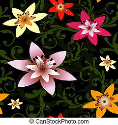 Abstract nahtlose schwarze Blumenmuster (vector)