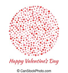 Abstract Vektor elegant Kreiskugel rund mit kleinen roten Herzen für Valentinskarten Hintergrund Design. Hochzeitseinladungskarte. Logo Emblem für Gesundheit, Medizin, Behandlung.