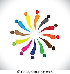 Abstrakt farbenfrohe, glückliche Menschen im Kreisvektorgrafik
