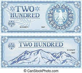 abstrakt, hundert, zwei, banknote
