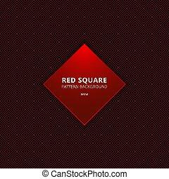 abstrakt, schwarz, quadrat, rotes , seamless, umrandungen, hintergrund., muster