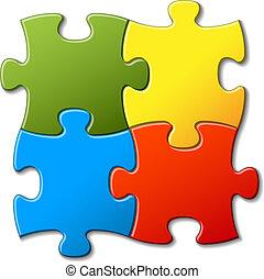abstrakt, vektor, puzzel, hintergrund