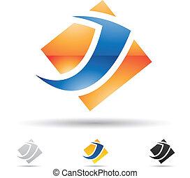 Abstrakte Ikone für Buchstaben J