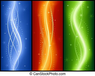 Abstrakte Wellen-Banner mit Sternen, elegant, festlich, leuchtend