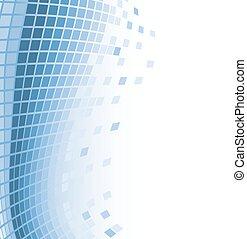 Abstrakter Mosaik-Hintergrund mit blauen fliegenden Partikeln. Vector Illustration