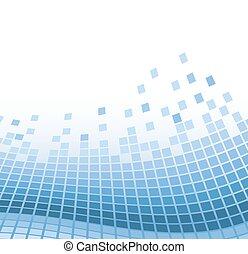 Abstrakter Mosaik-Hintergrund mit blauen Wattpartikeln. Vector Illustration