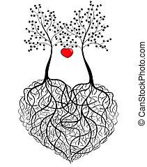 Abstraktes Muster - zwei Bäume.