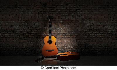 Acoustische Gitarre, die sich auf grungy w stützt.