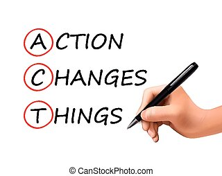 Action verändert die Worte der 3D-Hand.