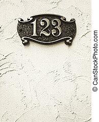 adresse, nummernschild, wand