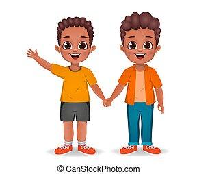 afrikanisch, hände, vektor, kinder, junge, zusammen, besitz