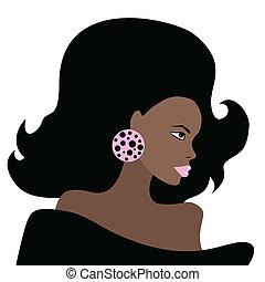 Afrikanische schöne Frau. Vector Illustration.