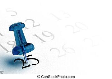 Agenda und blauer Daumenschrauben mit der Nummer 25 in schwarzer Farbe, die anderen Zahlen sind grau, weißes Hintergrundbildelement für die linke Seite einer Seite
