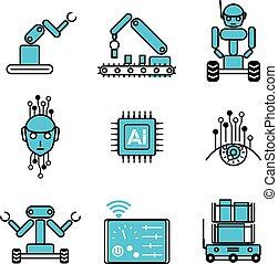 AI automatisierte Robotersystem Icon Vektor Design Illustration gesetzt.