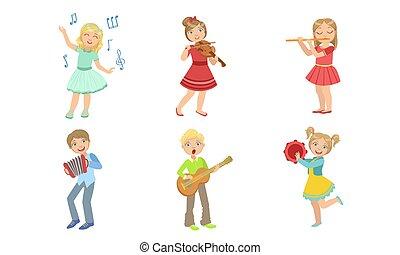 akkordeon, knaben, kinder, tamburin, mädels, musik, satz, instrumente, singende, musikalisches, geige, gitarre, abbildung, kinder, flötist, vektor