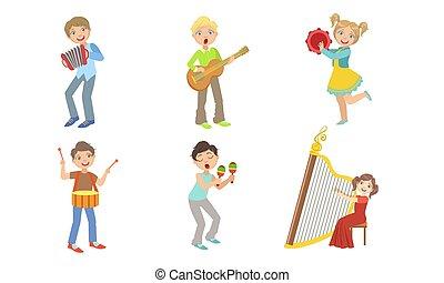 akkordeon, tamburin, knaben, trommel, kinder mädchen, musik, satz, instrumente, harfe, musikalisches, gitarre, abbildung, kinder, spielende , maracas, vektor