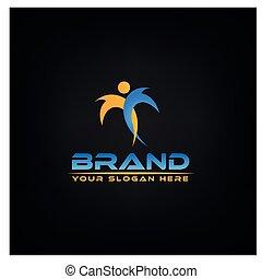Aktive Farbige. Logovektorkonzept
