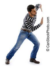 aktive, mann, ansicht, seite, tanzen