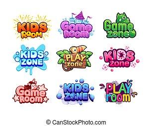 aktivität, einhorn, baby, zone, spiel- raum, area., abzeichen, spaß, spielplatz, monster, banners., kinder, set., zeichen & schilder, lettering., vektor, unterhaltung, aufkleber, logo., bunte, oder, spielzimmer, hell