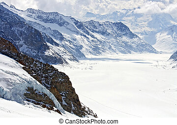aletsch, groß, schweiz, gletscher