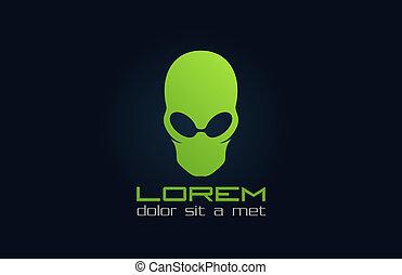 Alien-grünes Logo. Charakter abbrechen. Inkognito.