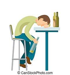 Alkoholmissbrauchskonzept. Der Typ hat zu viel getrunken.