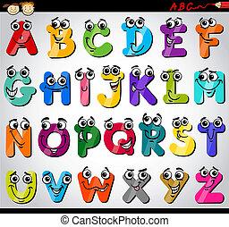 alphabet, briefe, karikatur, abbildung, hauptstadt