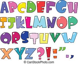 alphabet, karikatur