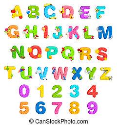 alphabet, satz, zahl