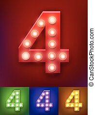 alphabet, vektor, altes , weisen, weinlese, zahl, abbildung, typography., realistisch, lampe, las vegas, 4, licht, board.
