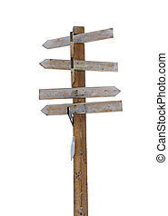Alte Holzpfeil-Schildpfosten, isoliert auf weiß