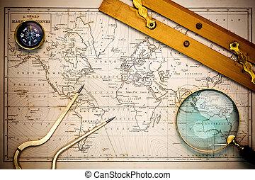 Alte Karte und Navigationsobjekte.
