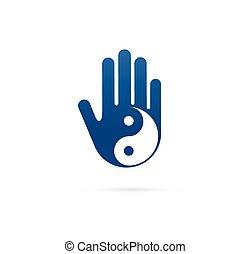 Alternative, chinesische Medizin und Wellness, Yoga, Zen Meditation Konzept - Vektor yin yang Icon, Logo.