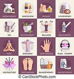Alternative Medizin Icons gesetzt.