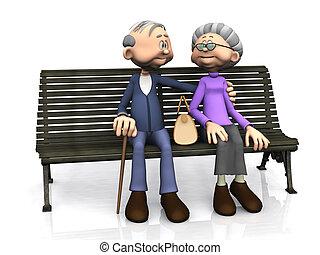 Altes Cartoon-Paar auf der Bank.