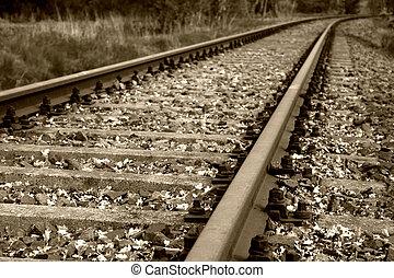 Altes Eisenbahnbett und Schienen