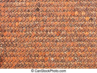 Altmodische Keramiksteine auf dem Dach