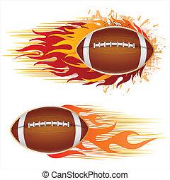 Amerika Football mit Flammen