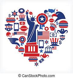 Amerika liebt - Herzform mit vielen Vektor-Ikonen