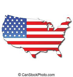 Amerikanische Flagge auf einer US-Karte