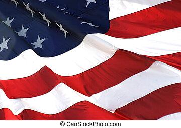 Amerikanische Flagge in horizontaler Sicht