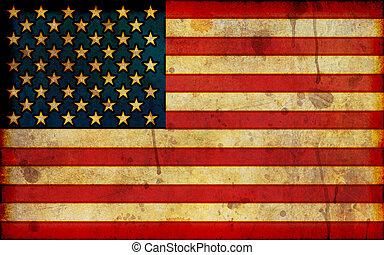 amerikanische , grunge, fahne, abbildung