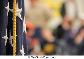 amerikanische , pfadfinder, versammlung, fahne