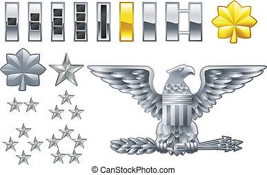 Amerikanischer Armeeoffizier ist insignia icons